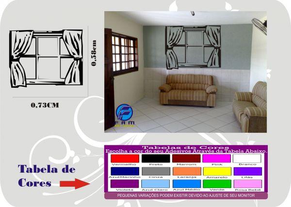 Artesanato De Croche Tapetes ~ ADESIVO JANELA COM CORTINA  Adesivos FAM